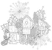 Hand drawn doodle outline spring nesting box Stock Photo