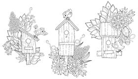 Hand drawn doodle outline spring nesting box Stock Image