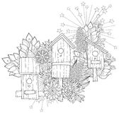 Hand drawn doodle outline spring nesting box Stock Photos