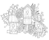 Hand drawn doodle outline spring nesting box Stock Photography