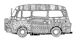 Hand drawn doodle outline surf bus volkswagen Stock Photography