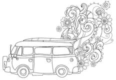 Hand drawn doodle outline surf bus volkswagen. Decorated with ornaments.Vector zentangle illustration.Floral ornament.Sketch for tattoo or coloring pages.Boho Royalty Free Stock Image