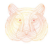 Hand drawn doodle outline tiger illustration. Decorative in African indian totem Ethnic tribal aztec design. Sketch for adult antistress coloring page vector illustration