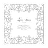 Hand drawn doodle paisley frame. Royalty Free Stock Photos