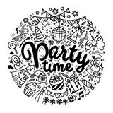 Hand drawn  doodle party set. Sketch icons for invitation  flyer Stock Photos