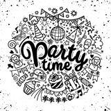 Hand drawn  doodle party set. Sketch icons for invitation  flyer. Poster ,Vector Illustration Stock Photos