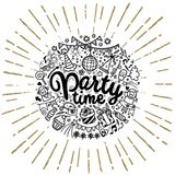 Hand drawn  doodle party set. Sketch icons for invitation. Flyer  poster ,Vector Illustration Stock Image