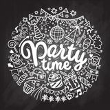 Hand drawn  doodle party set. Sketch icons for invitation  flyer. Poster ,Vector Illustration Stock Photography