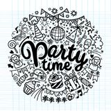 Hand drawn  doodle party set. Sketch icons for invitation. Flyer  poster ,Vector Illustration Royalty Free Stock Photography
