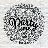 Hand drawn  doodle party set. Sketch icons for invitation. Flyer  poster ,Vector Illustration Royalty Free Stock Image