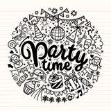 Hand drawn  doodle party set. Sketch icons for invitation. Flyer  poster ,Vector Illustration Royalty Free Stock Photo