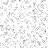 Hand Drawn Doodle pattern of fitness equipment. Dumbbell, weights, sneakers, baseball cap, bag Stock Photography