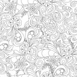 Hand drawn doodle pattern in vector. Zentangle background. Seamless abstract texture. Ethnic doodle design with henna ornament. Stock Image