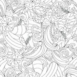 Hand drawn doodle pattern in vector. Zentangle background. Seamless abstract texture. Ethnic doodle design with henna ornament. Stock Images