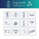 Hand drawn doodle payments set. stock illustration
