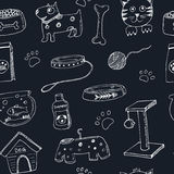 Hand drawn doodle Pets stuff and supply icons seamless pattern. Vector illustration. Vet symbol collection. Cartoon dogs Royalty Free Stock Images