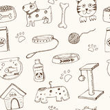 Hand drawn doodle Pets stuff and supply icons seamless pattern Vector illustration. Vet symbol collection. Cartoon dogs Stock Image