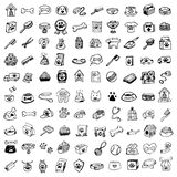 Hand drawn doodle Pets stuff and supply icons set. Vector illustration. Vet symbol collection Cartoon dogs and cats care elements stock illustration