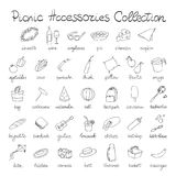 Hand Drawn Doodle Picnic Icons Set Stock Images