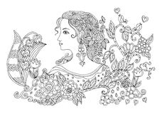 Hand drawn doodle portrait of beautiful woman with flowers. Stock Images