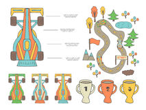 Hand drawn doodle race infographic with different sport objects Royalty Free Stock Photography