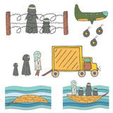 Hand drawn doodle refugees collection Royalty Free Stock Photography