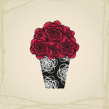 Hand drawn doodle roses in tattoo style and black Stock Photography