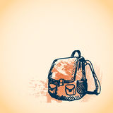 Hand drawn doodle schoolbag. Blue pen outline, yellow watercolor grunge background. Pupil, student, school, education. stock illustration