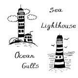 Hand drawn Doodle sea lighthouses ink  illustration Stock Image
