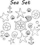 Hand drawn doodle Sea set. stock illustration