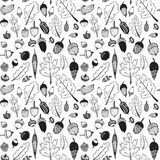 Hand drawn doodle seamless acorn pattern Royalty Free Stock Images