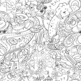 Hand drawn doodle seamless background summer time. Hand drawn doodle seamless background with summer time acivities and elements Royalty Free Stock Photos