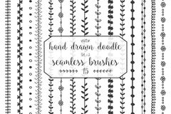 15 Hand drawn doodle seamless brushes. Set of hand drawn doodle seamless decorative brushes for dividers, borders, ornaments, frames, borders and design elements Vector Illustration