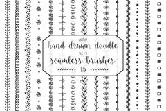 15 Hand drawn doodle seamless brushes. Set of hand drawn doodle seamless decorative brushes for dividers, borders, ornaments, frames, borders and design elements Stock Illustration