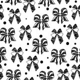 Hand-drawn doodle seamless pattern with bows. Royalty Free Stock Photos