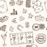Hand drawn doodle seamless pattern Casino icons. Vector illustration. Cartoon Gambling symbols. Sketchy game elements Stock Images