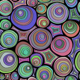Hand drawn doodle seamless pattern with circles ornament. Crazy color palette. Psychedelic concentric circles. Royalty Free Stock Image