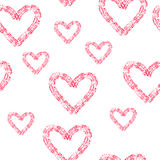 Hand-drawn doodle seamless pattern. With hearts Royalty Free Stock Image