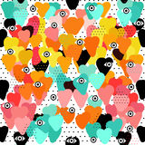 Hand-drawn doodle seamless pattern with hearts Stock Photos