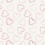 Hand drawn doodle seamless pattern of hearts Stock Photos