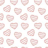 Hand drawn doodle seamless pattern of hearts Royalty Free Stock Photography