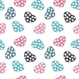 Hand drawn doodle seamless pattern of hearts Royalty Free Stock Photos