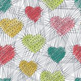 Hand drawn doodle seamless pattern of hearts Royalty Free Stock Images