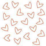Hand drawn doodle seamless pattern of hearts red orange line icon print vector illustration
