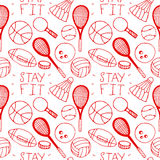 Hand drawn doodle seamless pattern. Sports Royalty Free Stock Photos