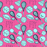 Hand drawn doodle seamless pattern. Sports Stock Photo