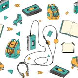 Hand drawn doodle seamless pattern with teen elements . Retro audio player, cassette, headphones, roller skates, backpack in carto vector illustration
