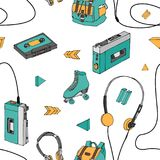 Hand drawn doodle seamless pattern with teen elements . Retro audio player, cassette, headphones, roller skates, backpack. In cartoon style. Design for print Royalty Free Stock Photography