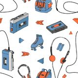 Hand drawn doodle seamless pattern with teen elements . Retro audio player, cassette, headphones, roller skates, backpack. In cartoon style. Design for print Royalty Free Stock Photo
