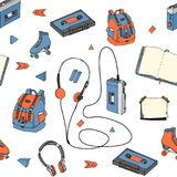 Hand drawn doodle seamless pattern with teen elements. Retro audio player, cassette, headphones, roller skates, backpack, notebook Royalty Free Stock Photography